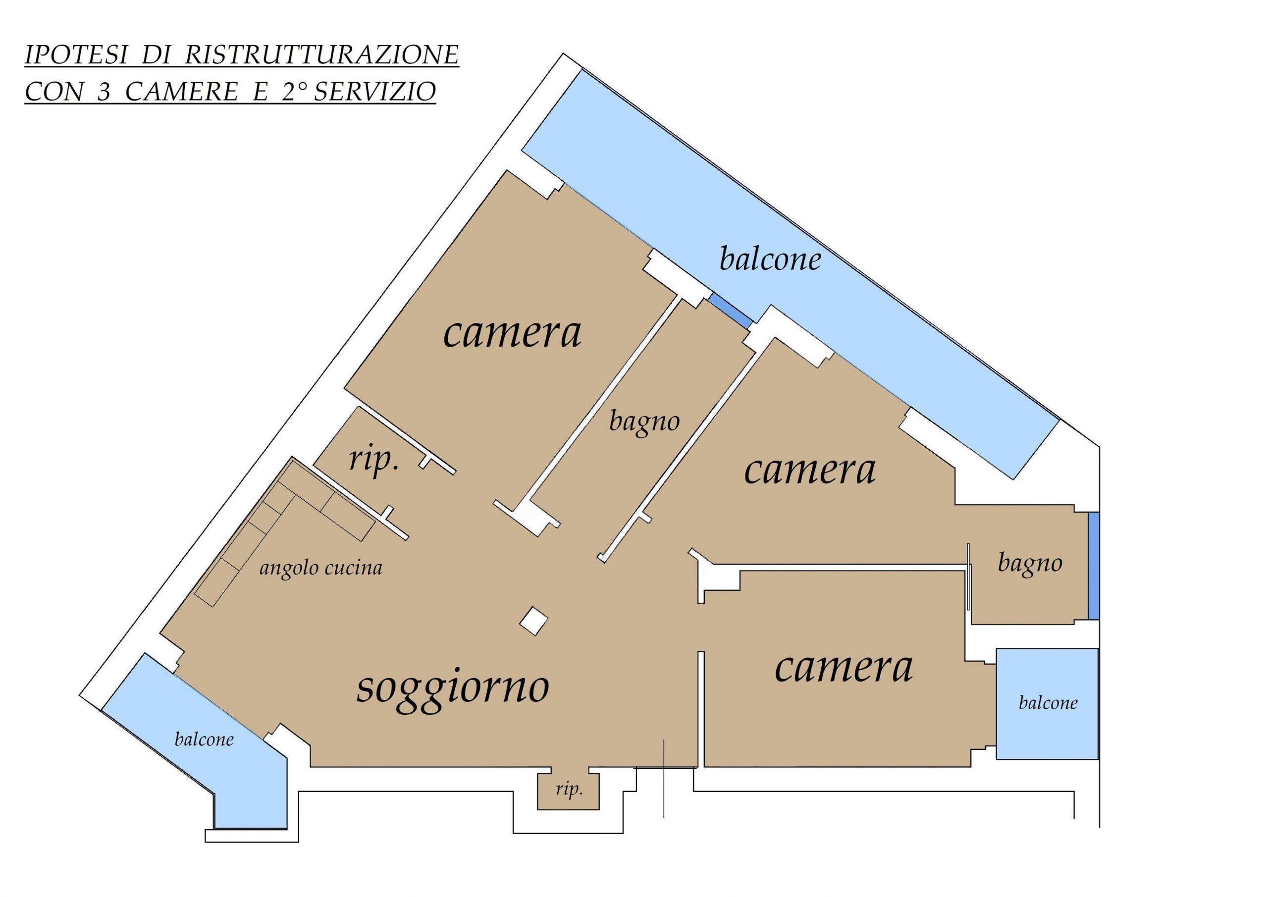 Ipotesi di ristrutturazione con 3 camere e secondo servizio