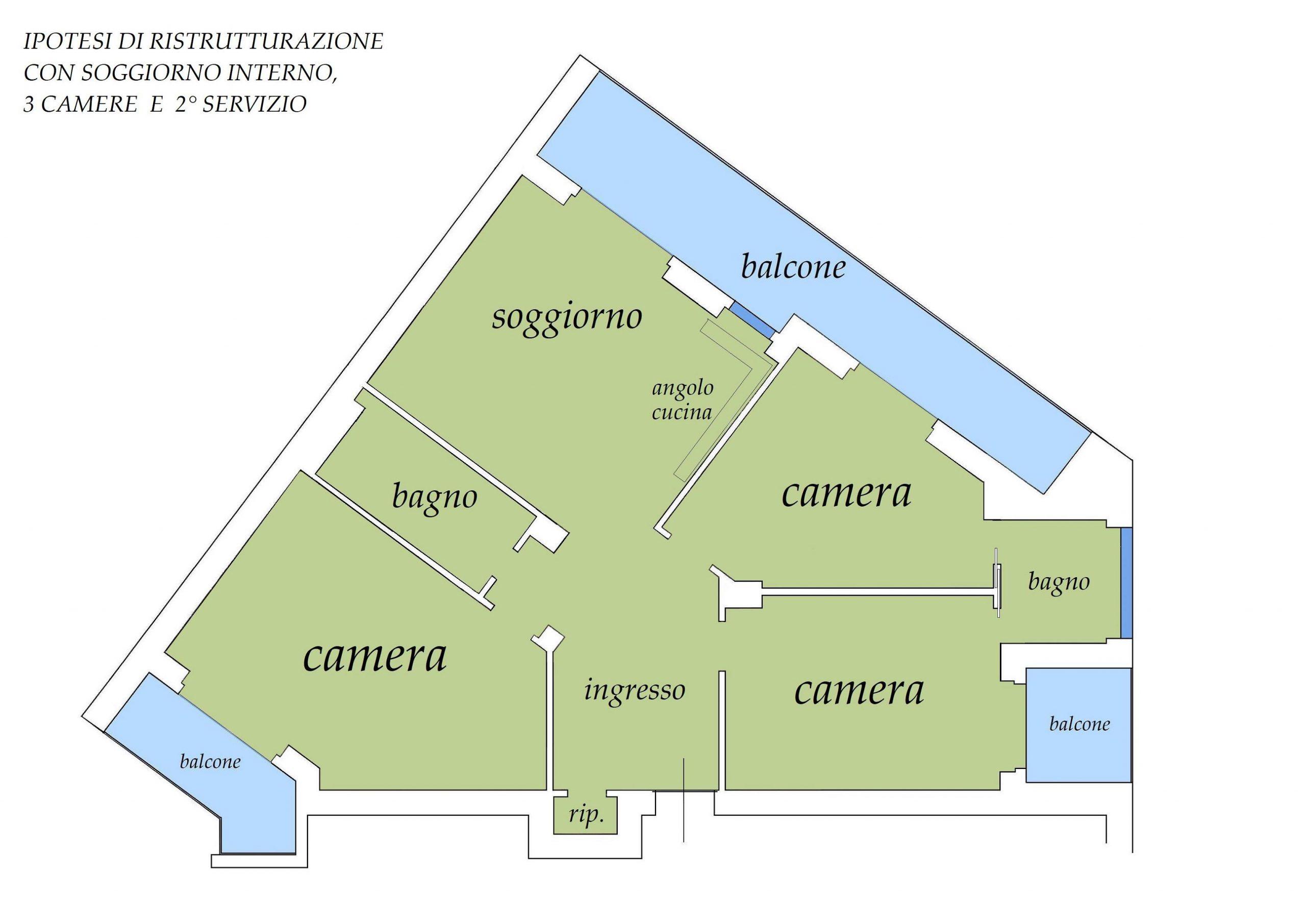 Ipotesi di ristrutturazione con soggirono interno, 3 camere e secondo servizio